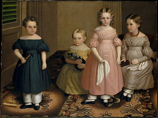 Oliver Tarbell Eddy (1799–1868). The Alling Children, ca. 1839. The Metropolitan Museum of Art, New York. Gift of Edgar William and Bernice Chrysler Garbisch, 1966 (66.242.21) #cats
