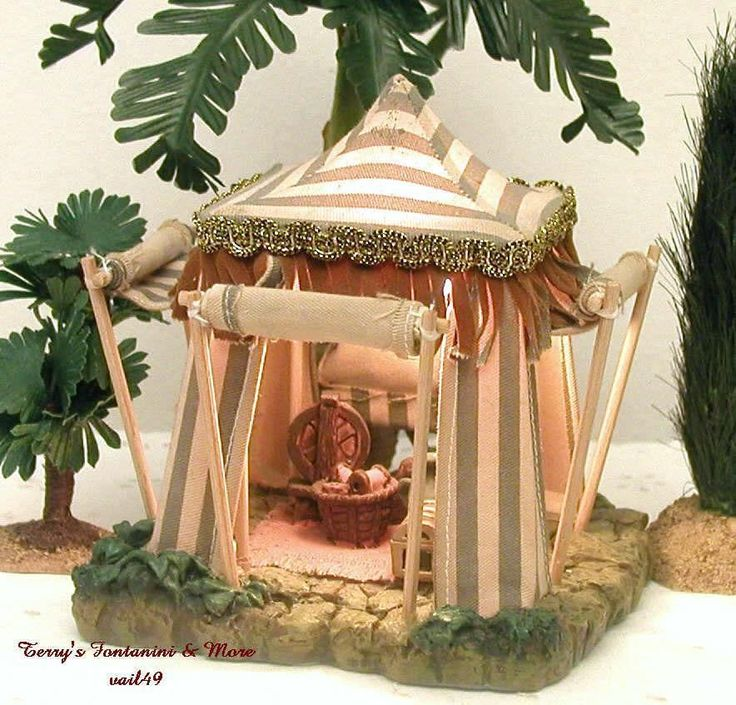 "FONTANINI ITALY 2.5"" KING MELCHIOR BLUE TENT NATIVITY VILLAGE BUILDING 50163 MIB #Fontanini"