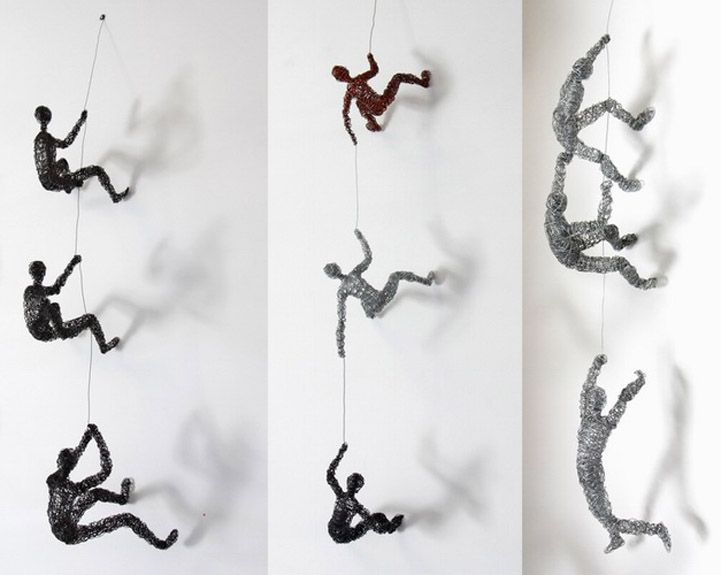 Little Wire People Climbing Everywhere by Chris Mason