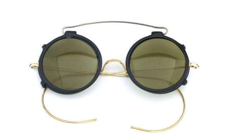 SHURON vintage [ BLACK/GOLD ROUND with CLIPON Olive-Green-Lense]