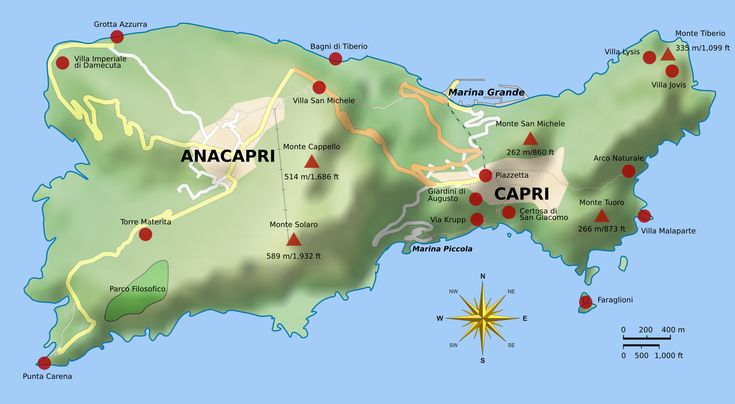 Map of Capri with Villa Jovis in the North-East corner of the island.