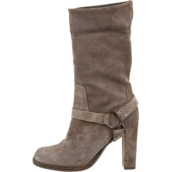 Brunello Cucinelli Boots ($195) ❤ liked on Polyvore featuring shoes, boots, grey, brunello cucinelli boots, brunello cucinelli shoes, round toe boots, grey shoes and suede leather boots