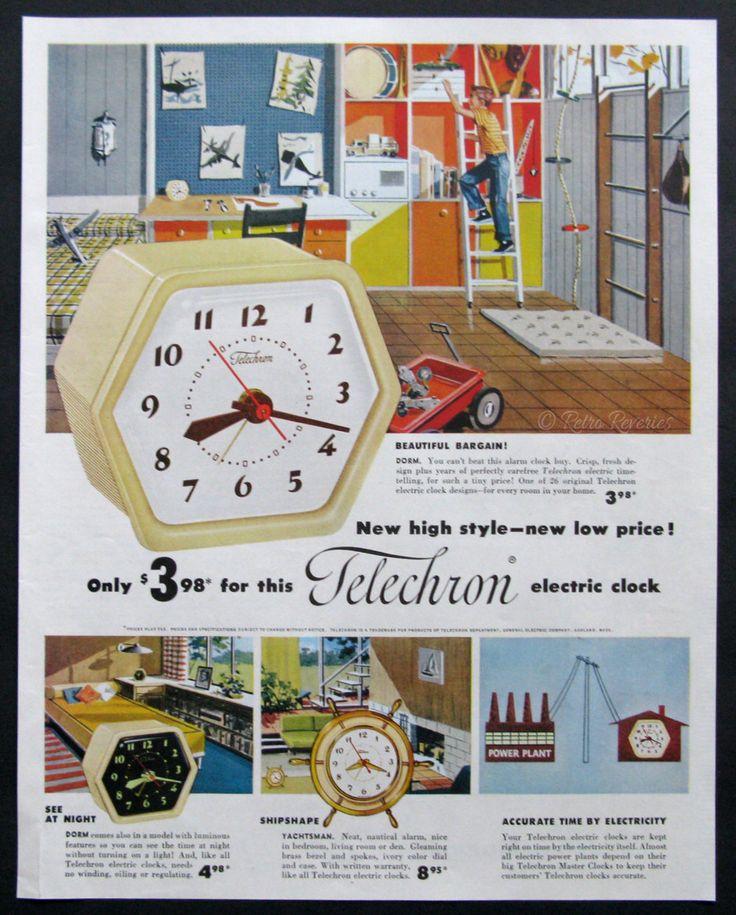 1953 Telechron Electric Clock Ad - Vintage Alarm Clock Advertising - 1950s Boys Room Kids - Retro Storage Shelves - Midcentury Modern Decor by RetroReveries on Etsy https://www.etsy.com/listing/218503919/1953-telechron-electric-clock-ad-vintage