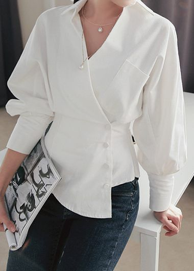 White Long Sleeve Asymmetric Hem Blouse | modlily.com – USD $32.38
