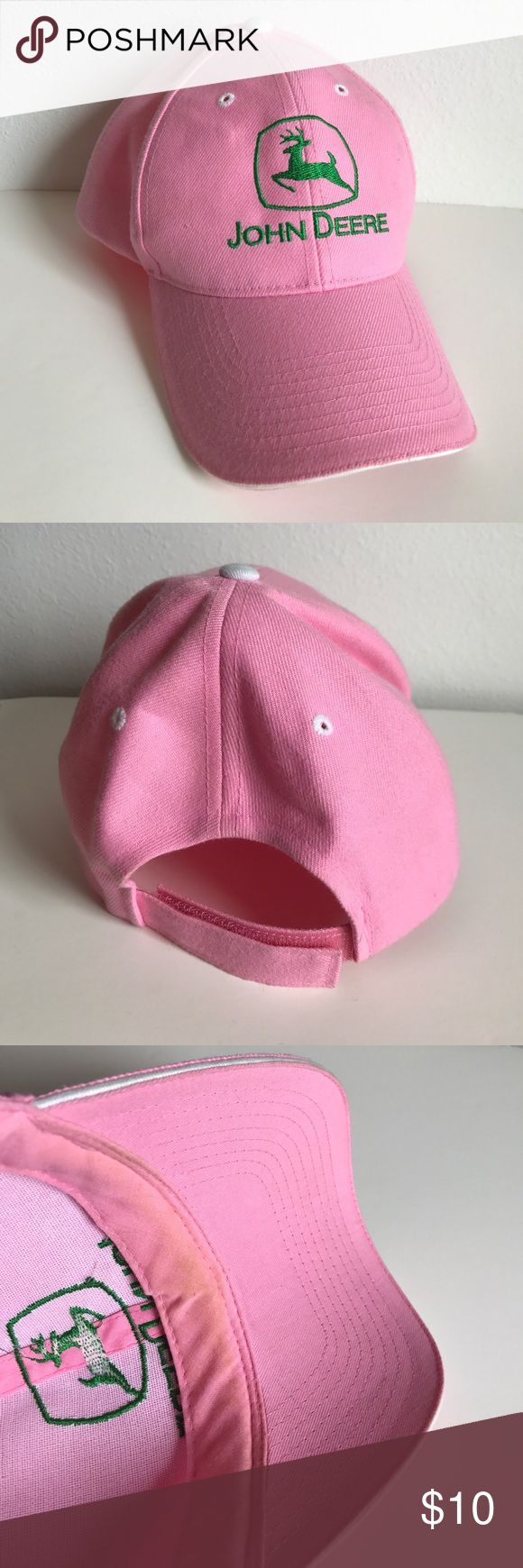 ⚜️New Listing⚜️Pink John Deere Baseball Cap The cute John Deere cap is bright pink, adjustable and in like-new condition except for a light make-up stain under the brim as shown. 🛍Make me an offer or bundle to save. John Deere Accessories Hats