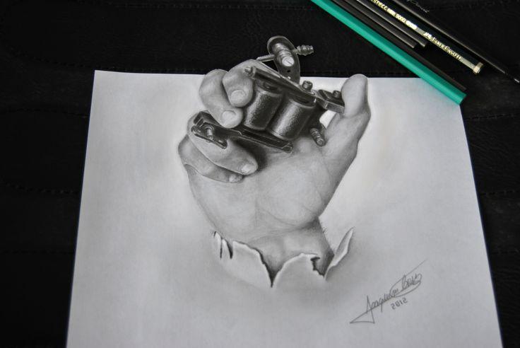 Realistic 3D hand tattoo machine - Pencil Desenho 3D realista mão maquina tatuar - Lápis