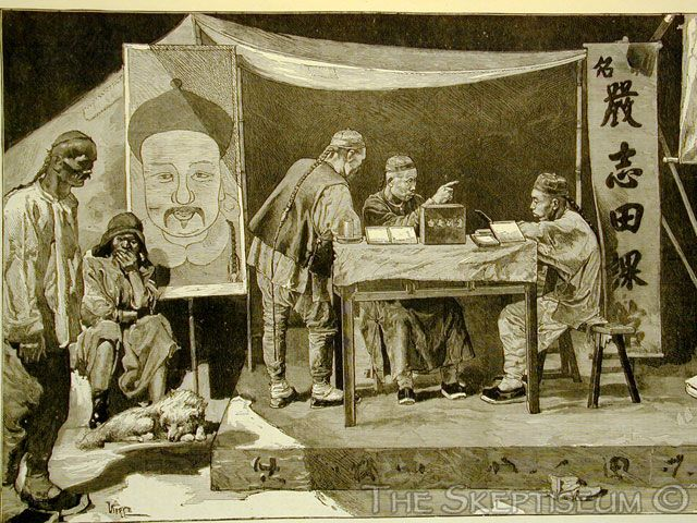 """""""A Chinese Fortune-Teller,"""" a wood-engraving appearing in The Illustrated London News, April 26, 1879"""