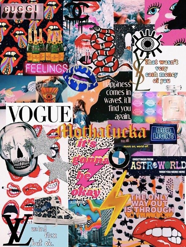 vogue collage vsco poster by nakaylath redbubble on wall pictures id=51193