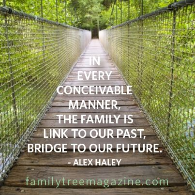 In every conceivable manner, the family is link to our past and bridge to our future.       Alex Haley