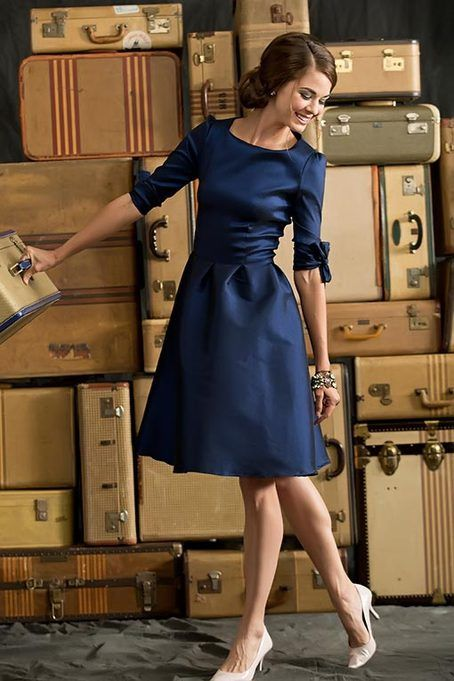 Blue Elbow Length Nutcracker Dress from the Bridesmaid Collection by Shabby Apple