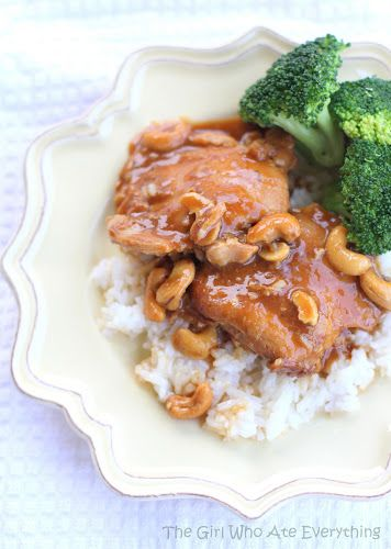 Slow Cooker Cashew Chicken by thegirlwhoateeverything. Original recipe from 365 Days of Slow Cooking  via Six Sisters' Stuff. #Cashew_Chicken #Slow_Cooker