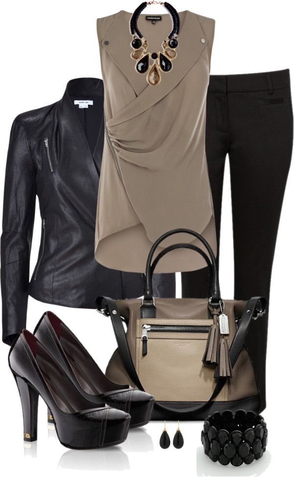 """""""Black and Taupe"""" by averbeek on Polyvore"""