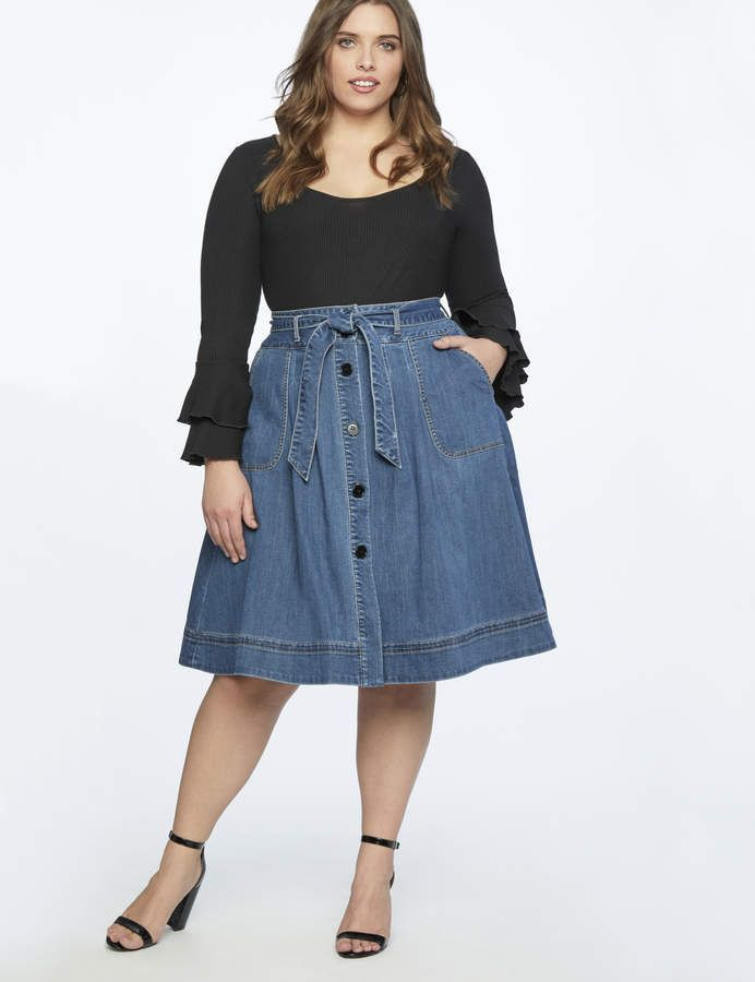 381a735dfd3 Denim Midi Skirt with Tie | Women's Plus Size Skirts in 2019 | Denim ...