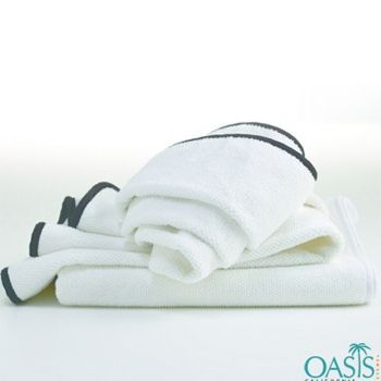 Plush White Towel With Black Piping Bath Towel With Images