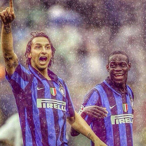 Zlatan Ibrahimovic and Mario Balotelli Inter Milan