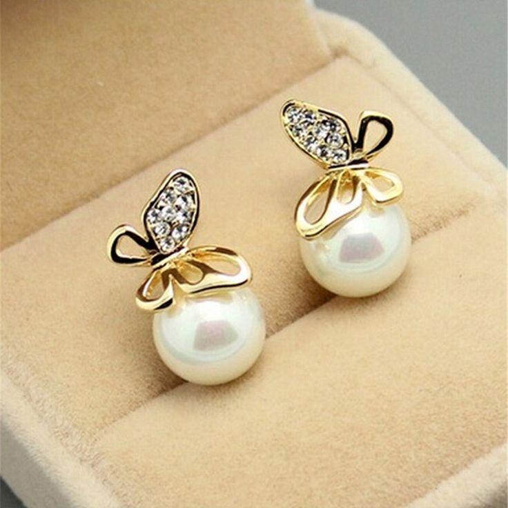 Fashion New Jewelry Women Crystal Gold Butterfly Pearl Ear Stud Earrings WP #Unbranded #Stud