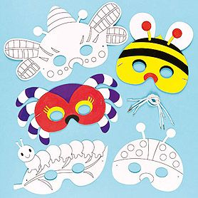 """Bug Colour-in Masks  {It's a Bug's Life- Girl Scouts of Northern Illinois Council's Own Patch}  [Step One] Hold a dance in which you learn different """"bug"""" moves like the Jitterbug, the Worm, etc.  enhance the dance by making your own bug mask to masquerade yourself."""