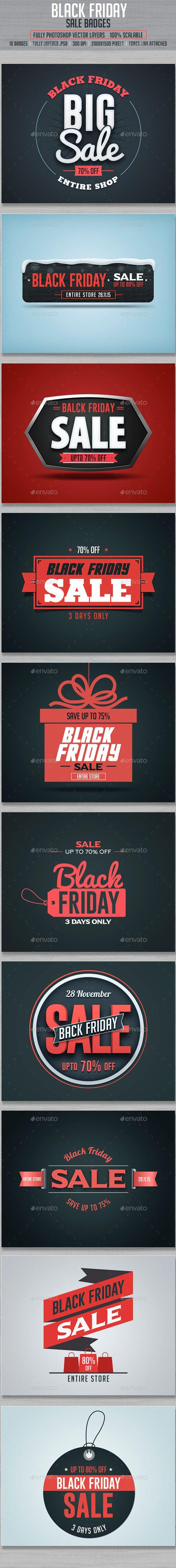 Black Friday Sale Badges Template PSD #design Download: http://graphicriver.net/item/black-friday-sale-badges/13423140?ref=ksioks