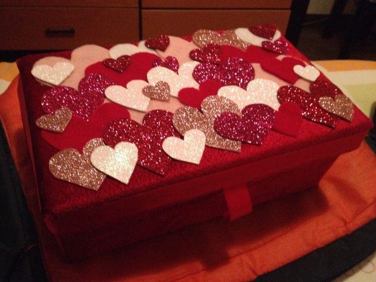 Caja de zapatos decorada con tela caja de zapatos - Como forrar muebles con tela ...