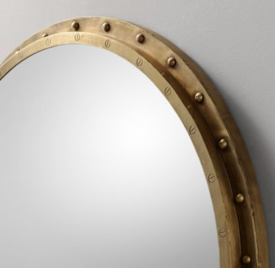 Antiqued Riveted Round Mirror Antique Brass Round