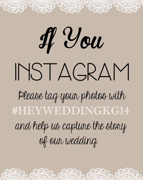Wedding Instagram Hashtags Signs Printable Template