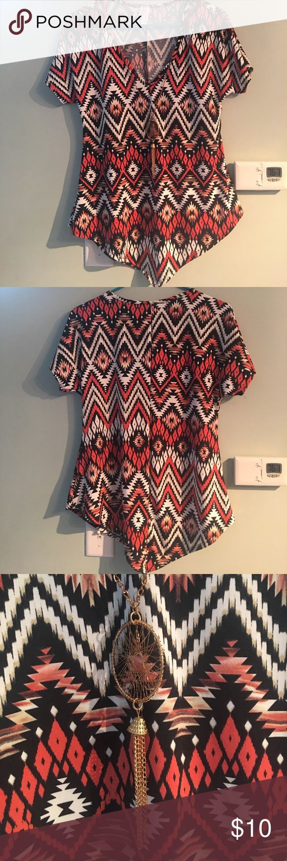 Tribal shirt with removable necklace Tribal shirt with removable necklace large never worn new without tags picky girl Tops Blouses