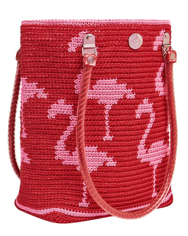 Flamingo red and pink tote bag