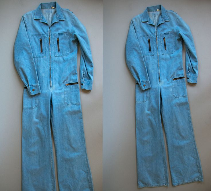Vintage 1970's Light Blue Denim Zip Up One Piece Jumper / Romper / Unisex Adults / Women's Men's / TALL by thiefislandvintage on Etsy