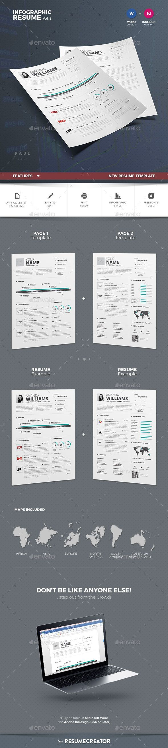 margins for resume%0A Infographic Resume   Cv Template MS Word  InDesign INDD