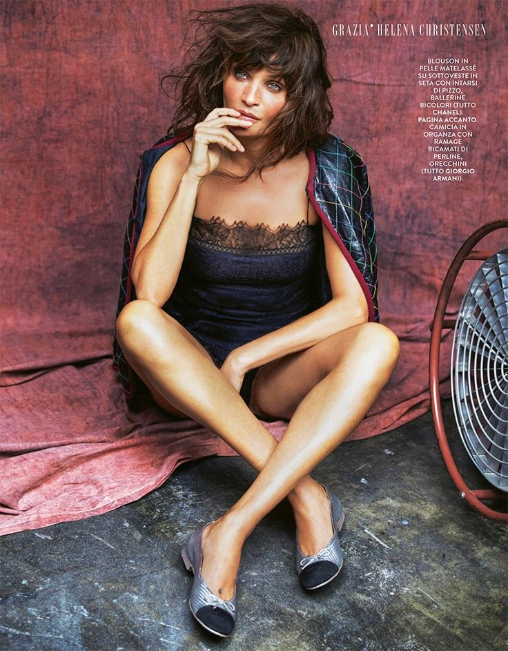 Helena Christensen wears Chanel leather blouson, lace romper and ballerina flats for Grazia Italy February 2017
