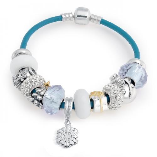 White Christmas 925 Sterling Silver Leather Pandora Style Charm Bracelet