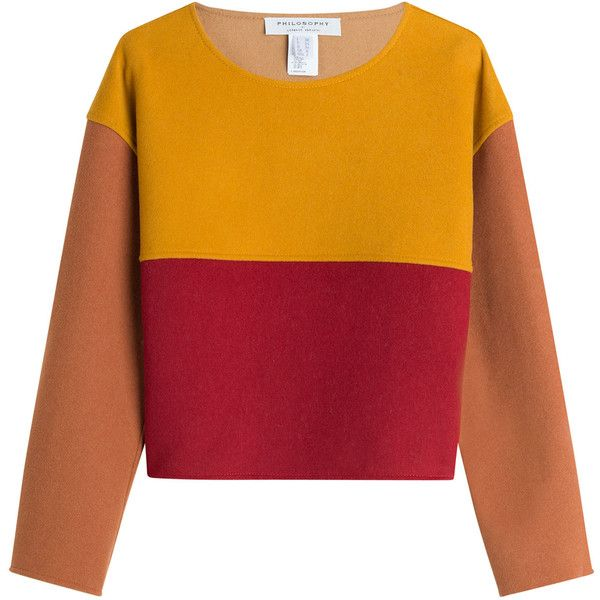 Philosophy di Lorenzo Serafini Wool Pullover found on Polyvore featuring tops, sweaters, multicolor, multi color sweater, multi colored sweater, red wool sweater, colorblock sweater and red pullover sweater