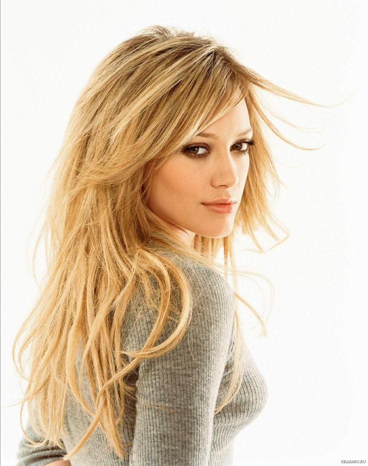 long layered blond hair. Hilary Duff.