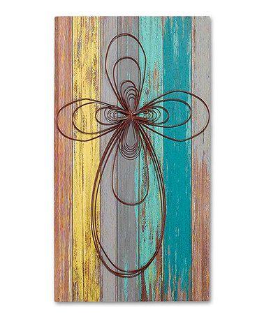 Teal & Yellow Cross Wooden Sign #zulily #zulilyfinds