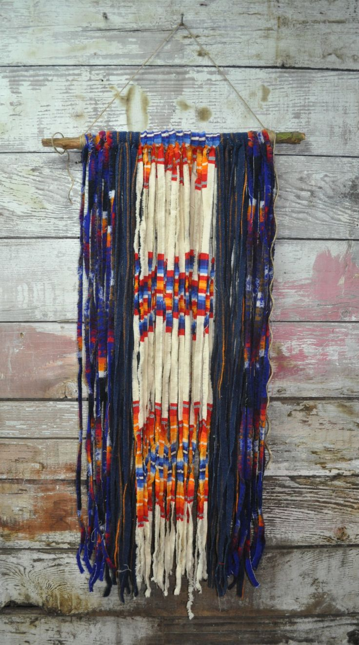 Recycled Pendleton Fabric Wall Hanging - Cream - Navy - Orange by KAYLABURKEDESIGN on Etsy