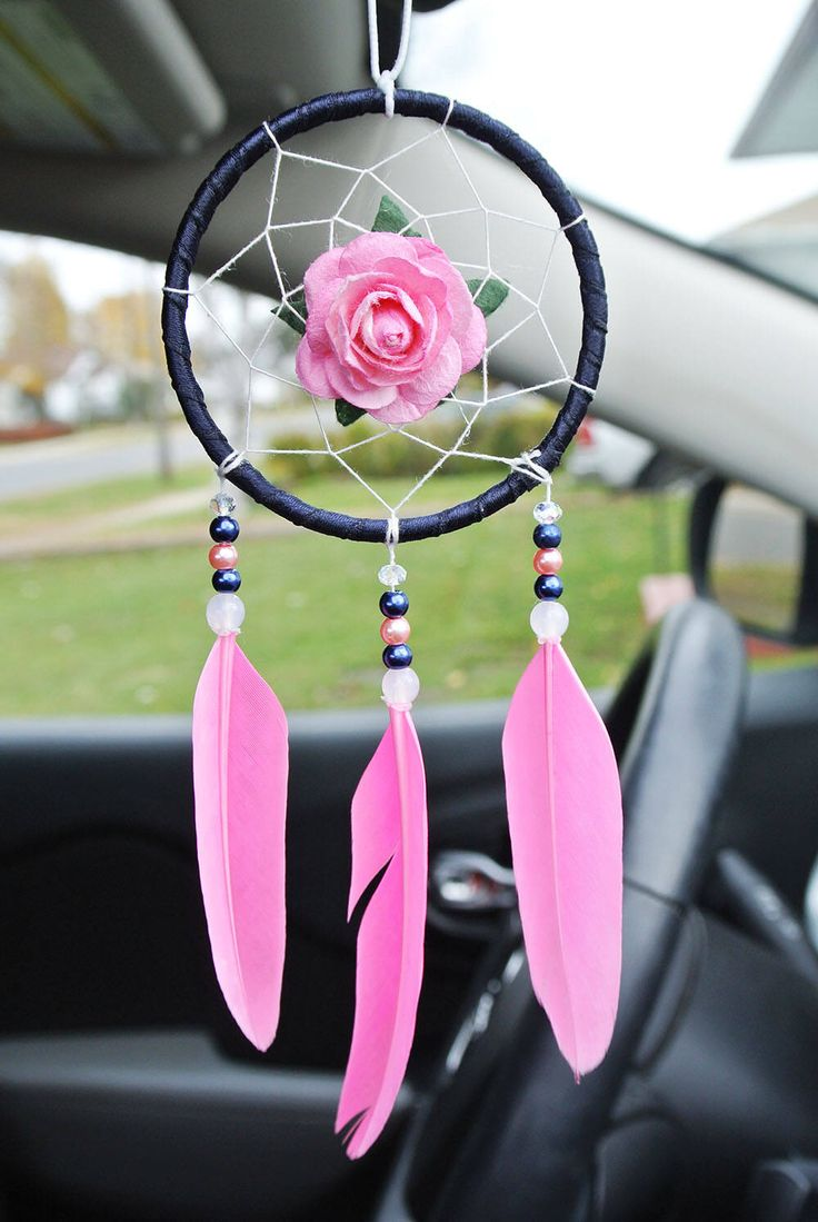 Pink Car Dream Catcher, Pink Car Accessories, Cute Car Charm, New Car Gift, Interior, Car Mirror Decor