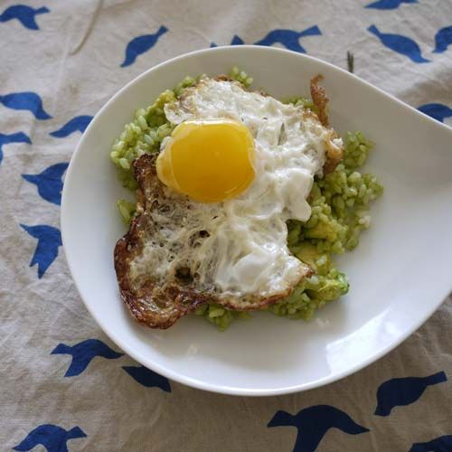 Rice cooked with cast iron. Mixed with one avocado and top with a sunny side up egg. a couple of drops of soy sauce. simple enough but super tasty.: Soy Sauce
