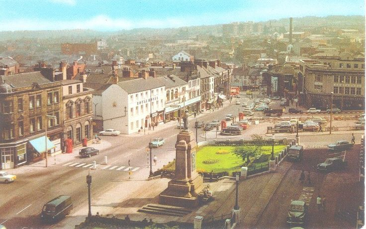 War Memorial and Market Hill from the Technical College. 1970s