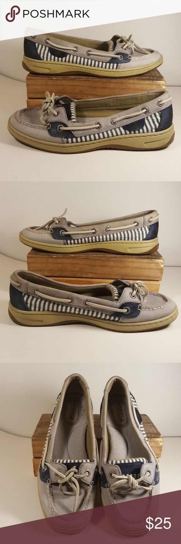 Sperry Top-Siders Gray Blue Boat Shoes Women Sz 6M Up for your consideration is this pair of blue and gray Sperry Top-Siders for women, size 6M They are in excellent condition.  Feel free to ask any questions  Please check my other items, I have more shoes and clothes for the whole family.  Thank you and have a great day. Sperry Top-Sider Shoes Flats & Loafers