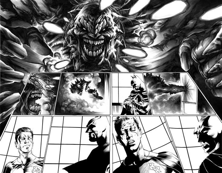 Detective Comics #966 page 10-11 DOUBLE SPLASH Barrows Ferreira BATMAN Red Robin vs DOOMSDAY  Comic Art