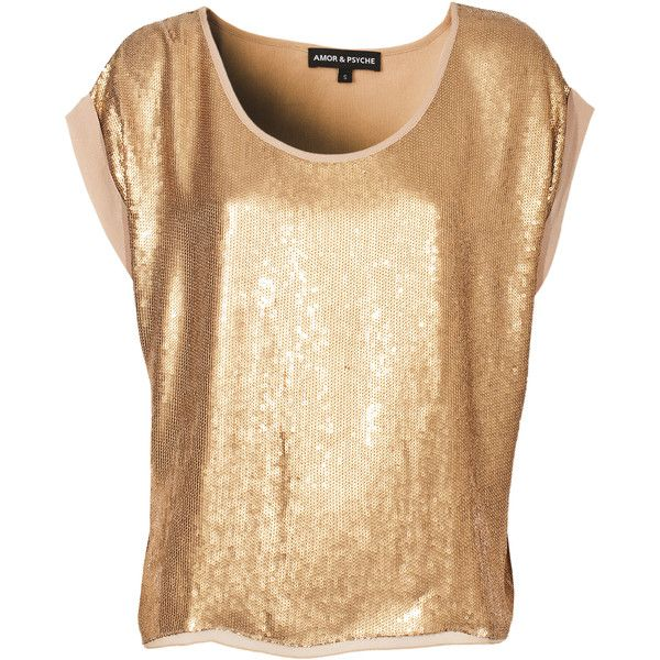 Amor&Psyche Sequin Glam Gold Shortsleeved Sequin Top (700 BRL) ❤ liked on Polyvore featuring tops, shirts, t-shirts, blusas, blouses, shirt tops, bat sleeve shirt, sequin short sleeve top, gold sequin shirt and sequin top