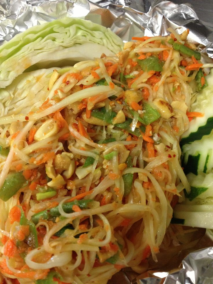 Sabaidee 100 vegan tham mak houng vegan papaya salad for Ano thai lao cuisine menu