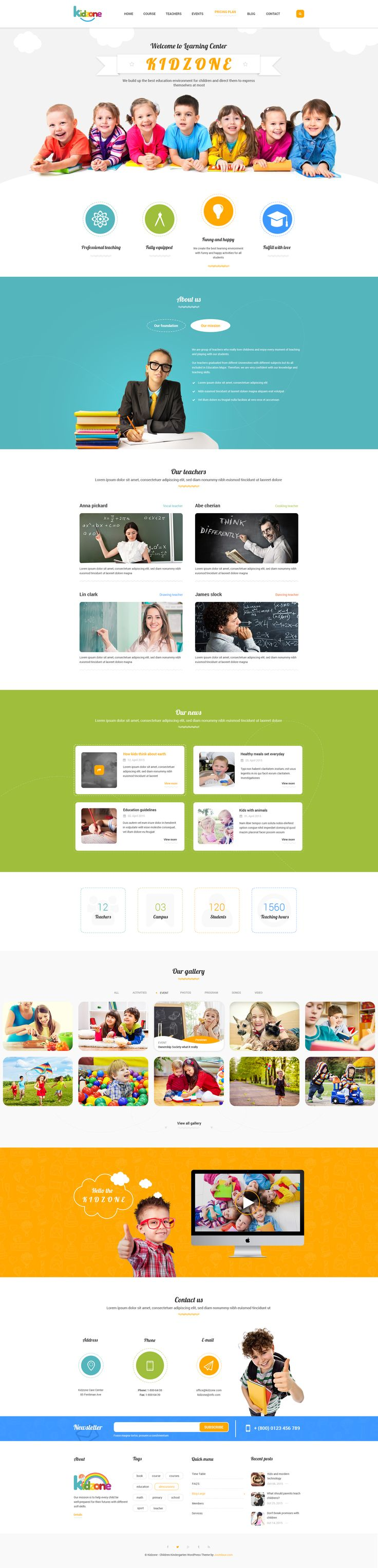 Kidzone - Children Kindergartent HTML #site #creative #art • Download ➝ https://themeforest.net/item/kidzone-children-kindergartent-html/13797362?ref=pxcr