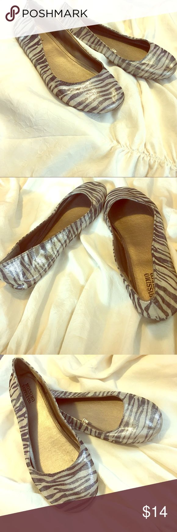 Mossimo Supply Co. Silver Zebra Shoes Mossimo Supply Co. Silver Zebra Shoes. Size 7. New Without Tags. Beautiful shimmer fabric with a bendable sole. This shoe goes with so many things.❤️ Mossimo Supply Co. Shoes