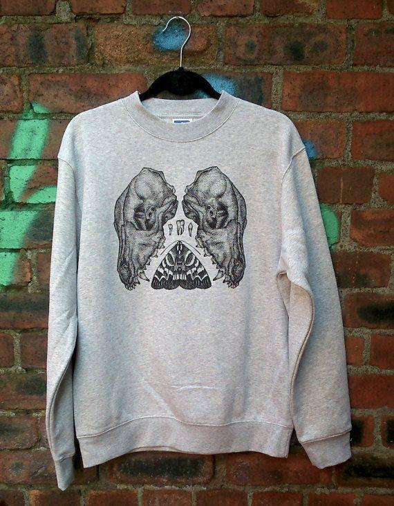 Sérigraphié crâne Canine, teigne et dent pointillisme Sweat-shirt unisexe