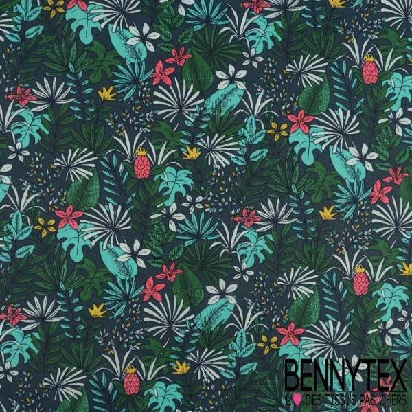 Toile Lorraine 100% Coton Modèle PITAYA Imprimé Fleur Tropical Ton Vert vente tissus au mètre ou au coupon en ligne à des prix pas cher
