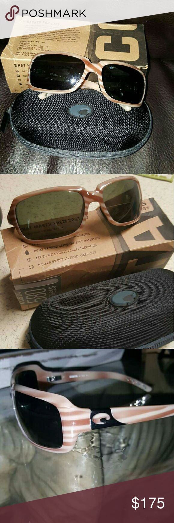 Costa sunglasses Womens Costa sunglasses, Isabela style. They we're bought for me as a gift and they aren't my style. They have NEVER been worn and are still in the original box. They come with the black case and the Costa sticker. The lenses are 580 glass. These retail for 220$ brand new. MAKE OFFER IF INTERESTED Accessories Sunglasses