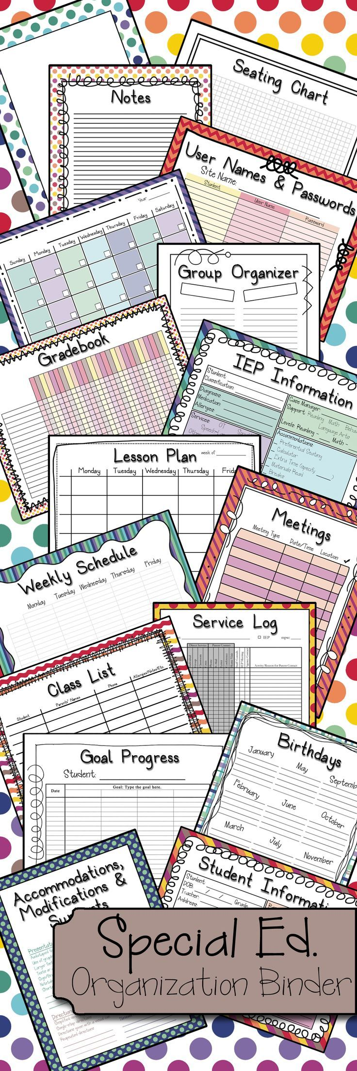 For my special ed teacher friends  This download includes over 80 pages to help you organize the mounds of special ed. paperwork we all seem to accumulate.   Includes Group Organizer, IEP Dates Tracker, IEP Service Log, Lesson Planning Sheets, IEP Information Page, Seating Chart, Meeting Organizer, IEP Accommodations Cheat Sheet, as well as coordinating blank pages, cool-colored, or combo theme!