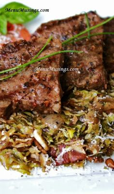 Brussels Sprouts Hash with Beef Medallions.  Caramelized onions, smoky bacon, toasted pine nuts and an extra sprinkling of grated Parmesan make these shaved Brussels sprouts so amazing!  You'll never believe a teenager came up with this!  Step-by-step photo recipe tutorial.