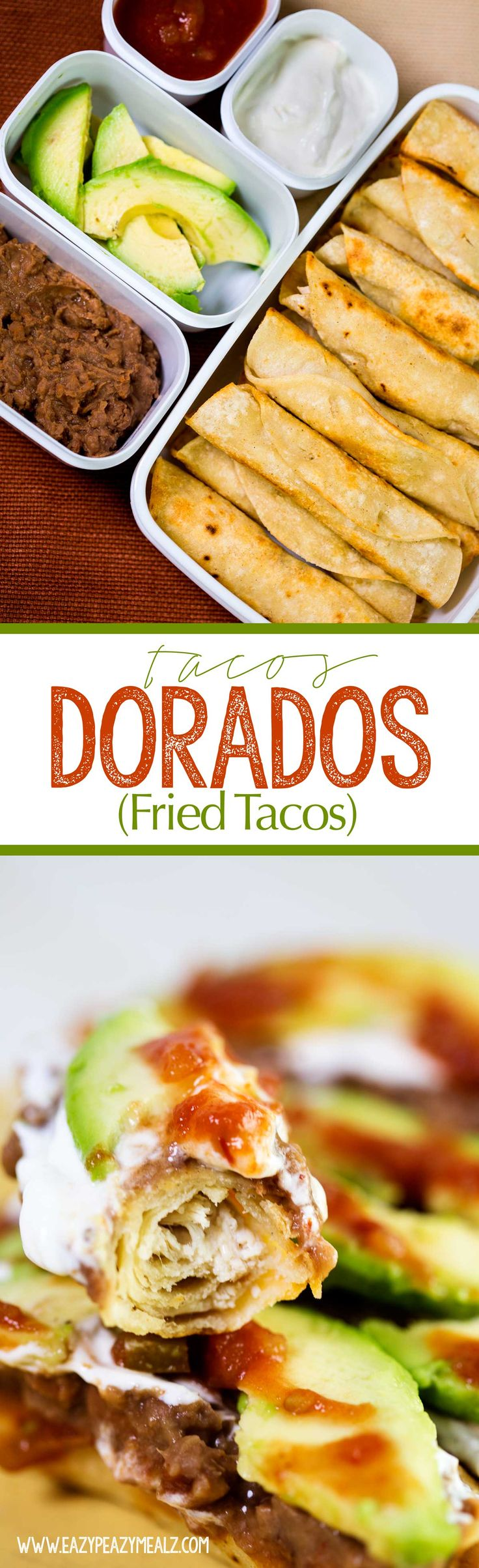 Tacos Dorados AKA fried tacos | Eazy Peazy Mealz | these fried tacos are stuffed with tender chicken and cheese and topped with all your favorites. A great lunch, dinner, or game day good.